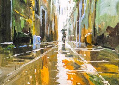 Tableau Humberto Pinochet - Venise sous la pluie